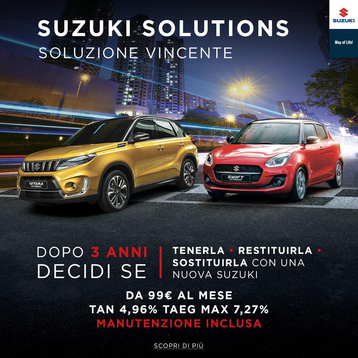 Suzuki Solutions, nuovo finanziamento a 48 mesi e tre tagliandi in omaggio: promozioni, offerte